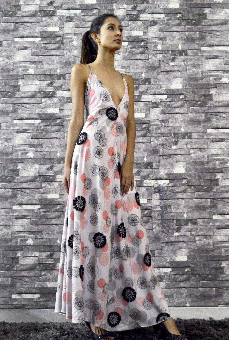 Backless Printed Crepe Gown
