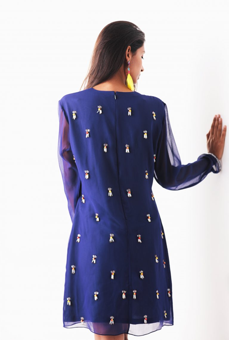 Blue Beaded A-Line Dress