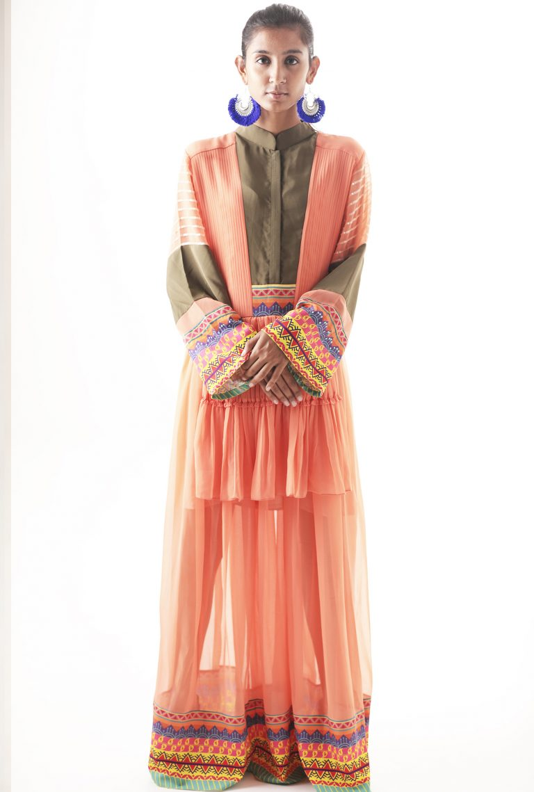 Color-Blocked embroidered maxi dress 2