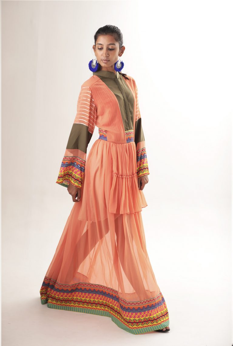 Color-Blocked embroidered maxi dress