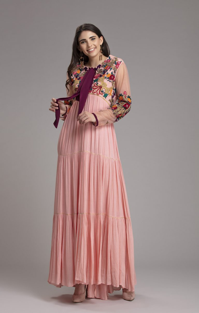 Embroidered Tiered cotton maxi dress