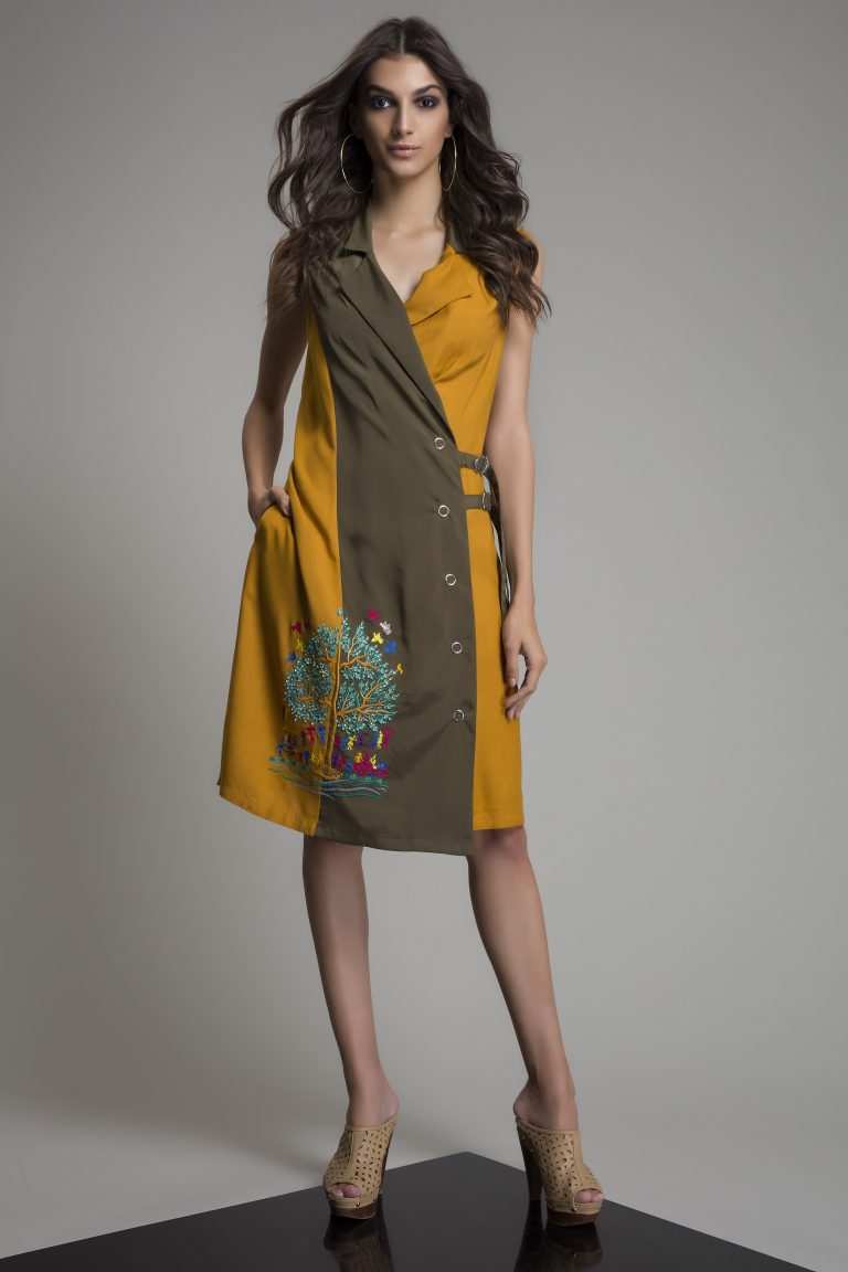 Exclusive Tree-of-life Embroidered silk dress