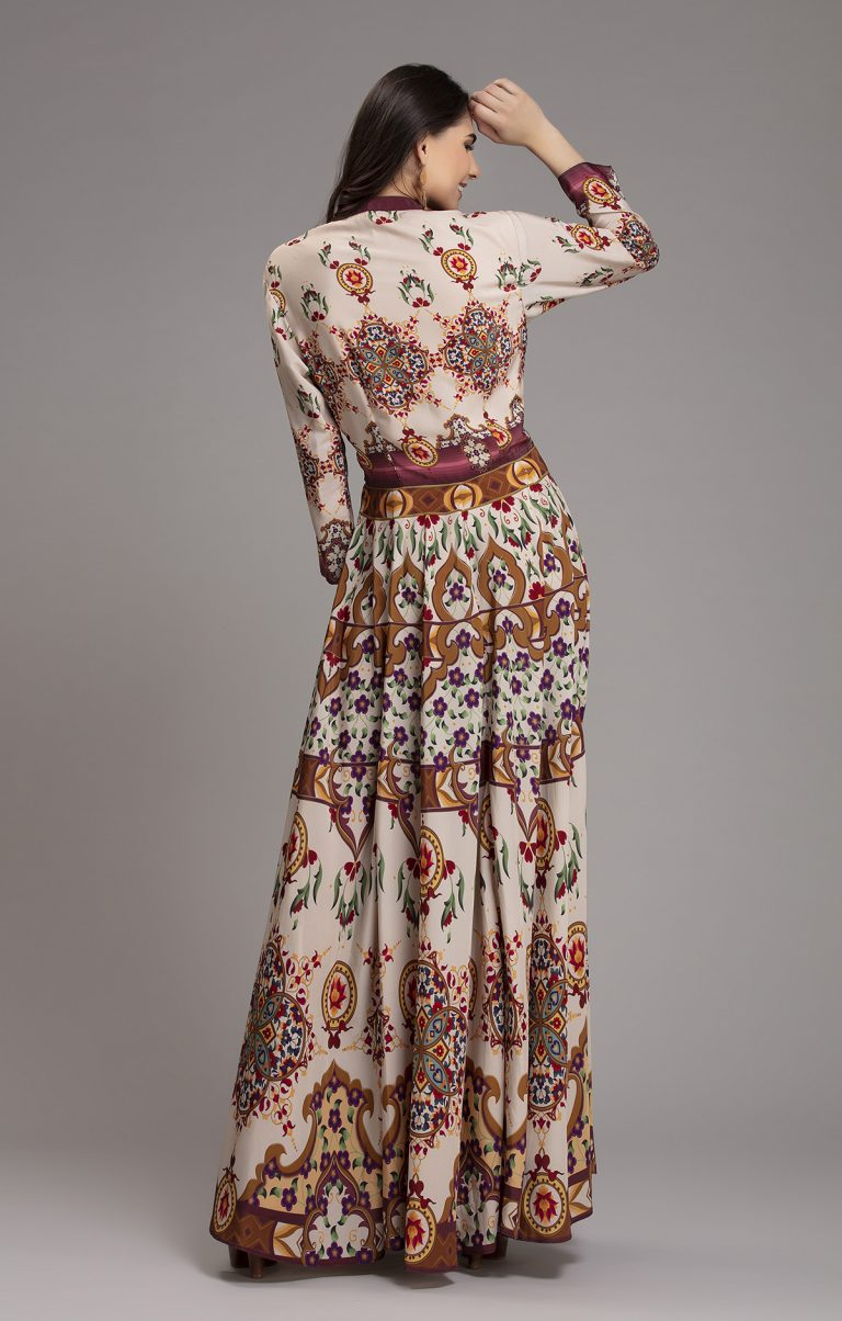 Exclusive printed maxi silk dress