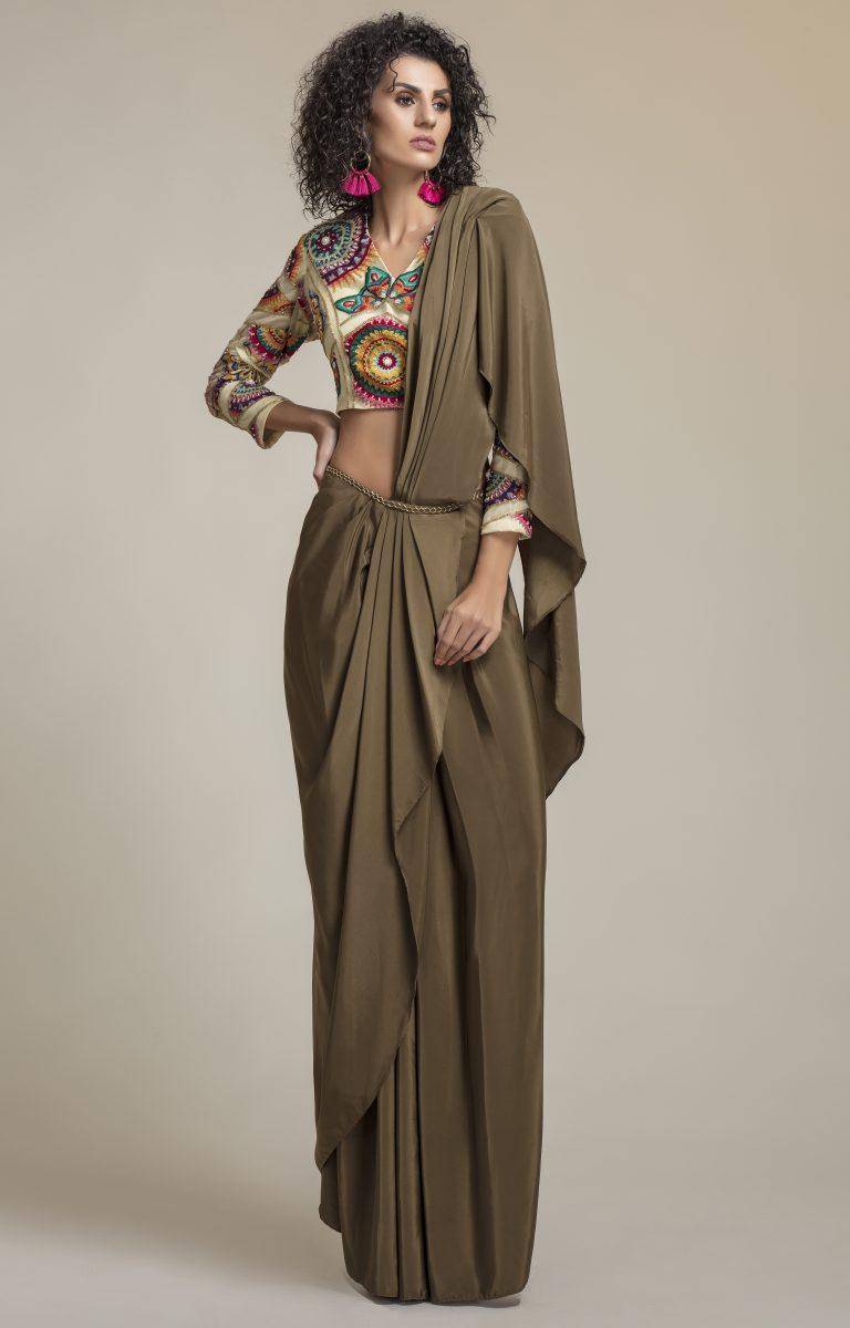 Multi Colored Embellished Pre-Stitched Saree Set