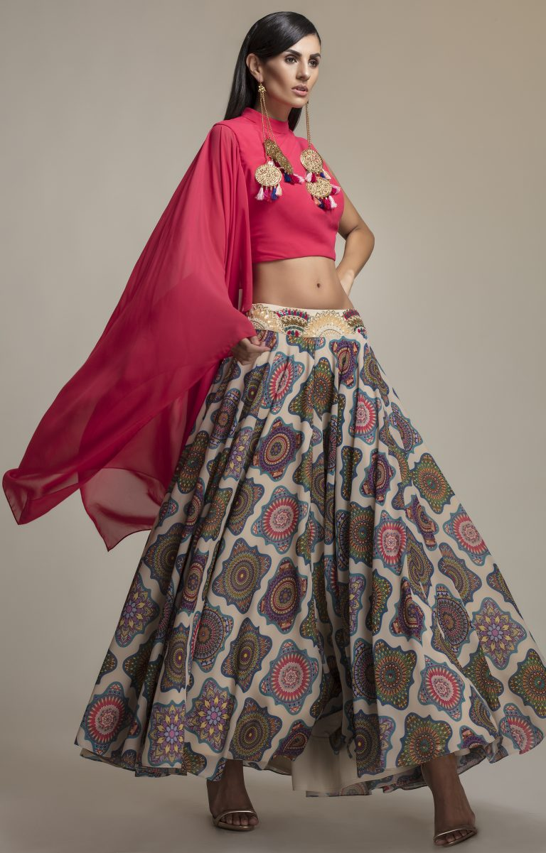 Folklore Collections - Fuchsia Draped Sleeve Blouse and Printed Skirt 1, designer sale canada designer clothes toronto popular clothing stores in toronto