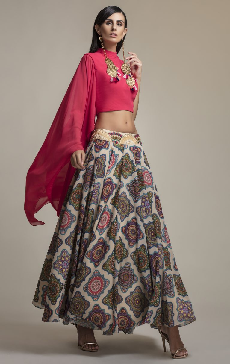 Folklore collections - Fuchsia Draped Sleeve Blouse and Printed Skirt, designer sale canada designer clothes toronto popular clothing stores in toronto