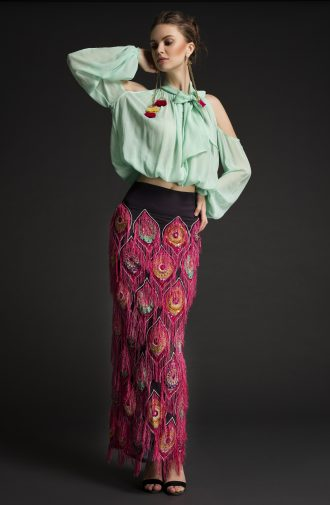 Embroidered Skirt Cocktail Dress