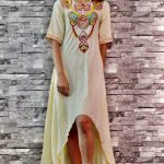 Linen High- Low Embroidered Dress