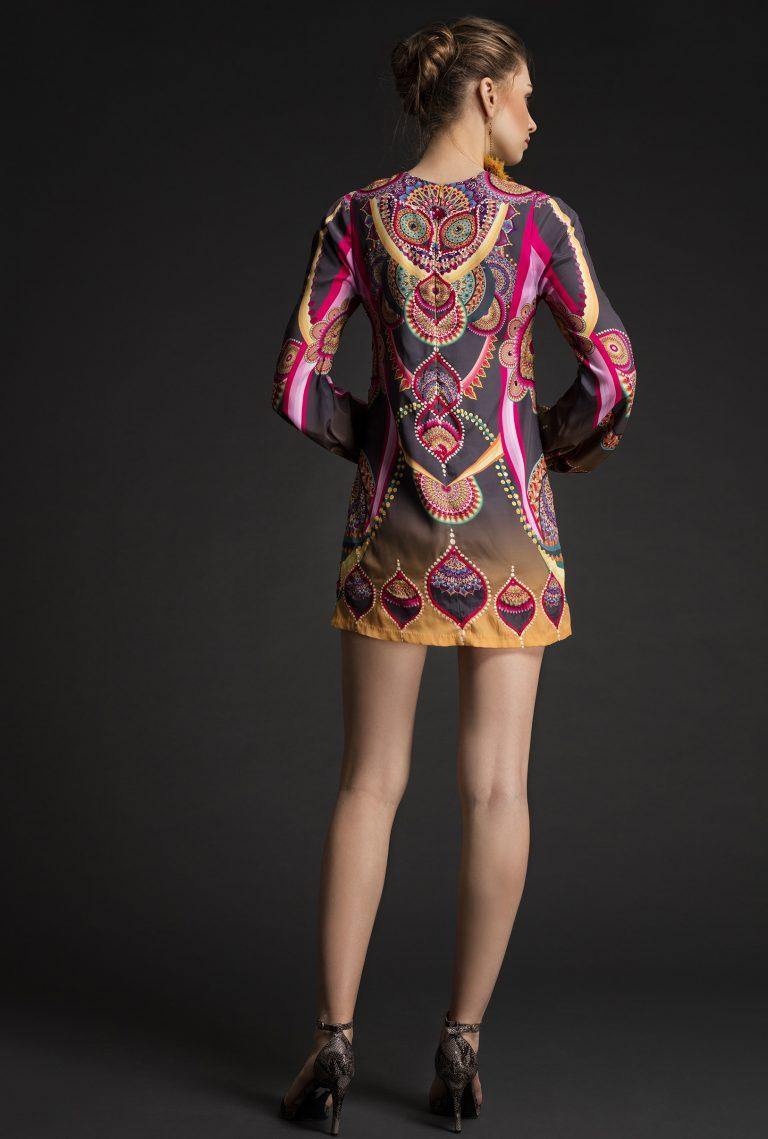 Mandala Printed Sequin-Detailed crepe dress