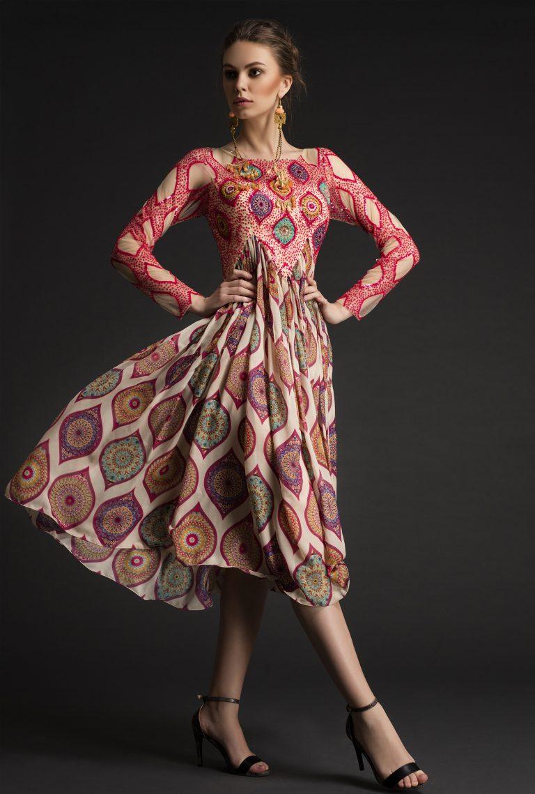 Sequined Printed Silk Midi Dress