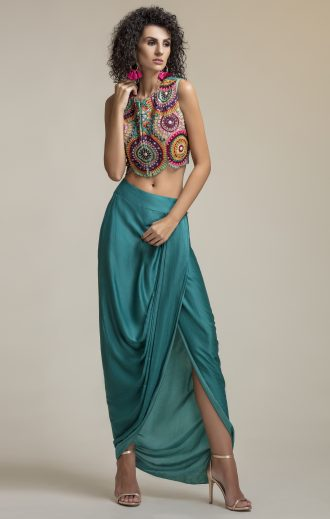 Multi Embroidered Drape Silk Skirt And Crop Blouse