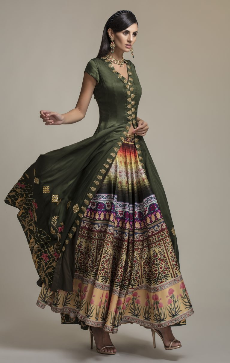 Anarkali Embroidered Jacket with Printed Skirt