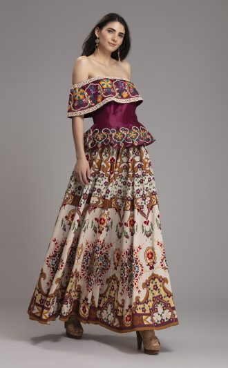 Folklore Collections - Printed Floral and embroidered Skirt 1, designer occasion wear designer wear clothes Indian designer wear online special occasion wear