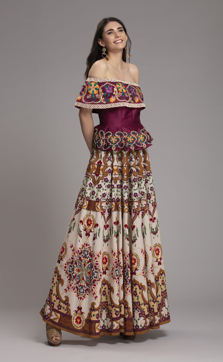 Folklore Collections - Printed Floral and embroidered Skirt 3, designer occasion wear designer wear clothes Indian designer wear online special occasion wear