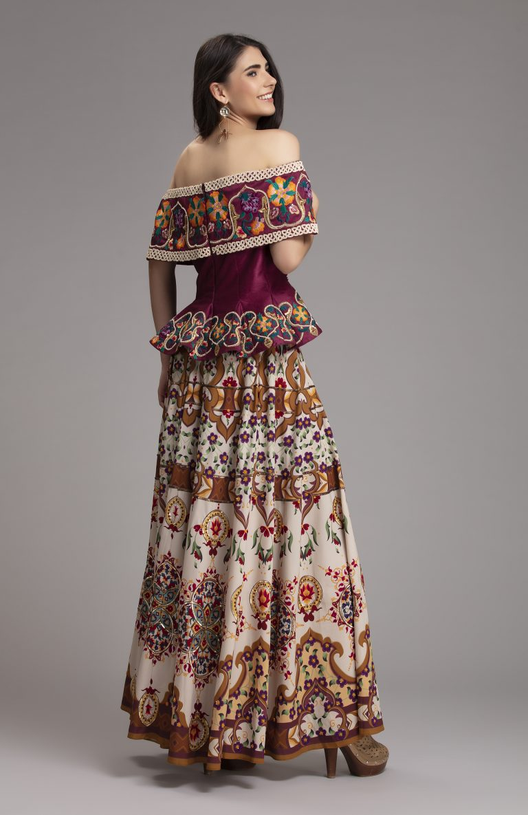 Printed Floral and embroidered Skirt 3
