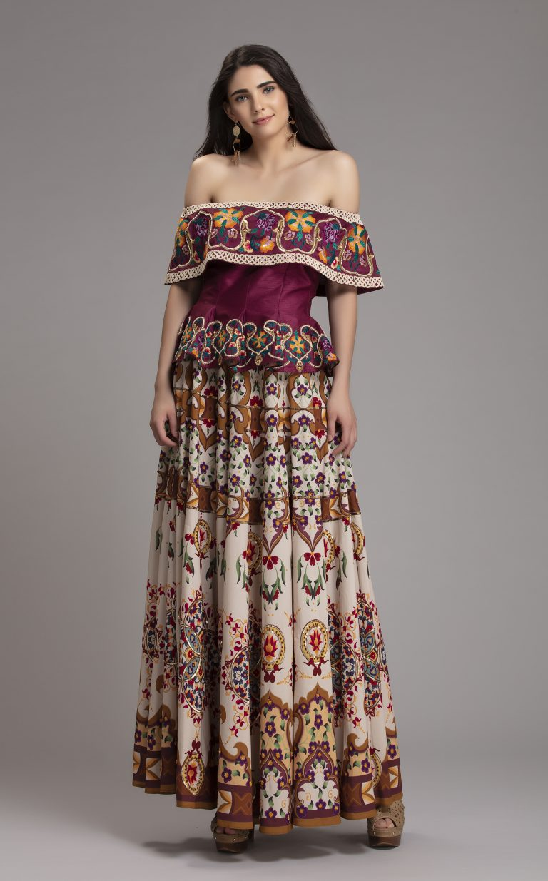 Folklore Collections - Printed Floral and embroidered Skirt, latest designer clothes for ladies top designer clothing brands designer brand women formal evening dresses designer fashion dress