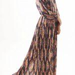Printed Pleated Maxi Navy Dress