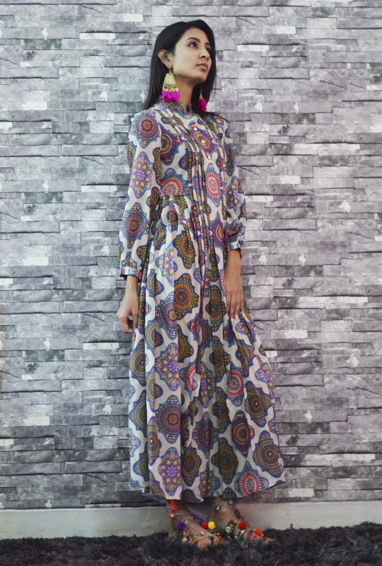 Folklore Collections - Printed Pleated Dress 2, designer sale canada designer clothes toronto popular clothing stores in toronto