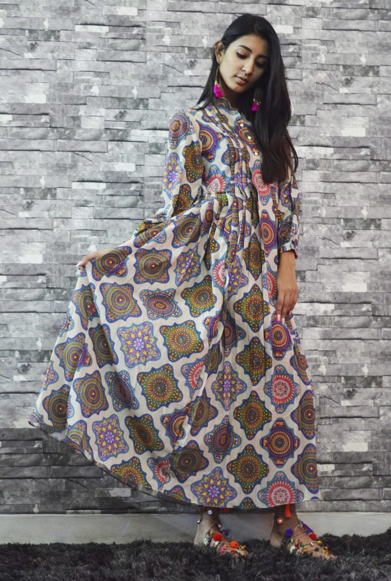 Folklore Collections - Printed Pleated Dress 3, designer sale canada designer clothes toronto popular clothing stores in toronto