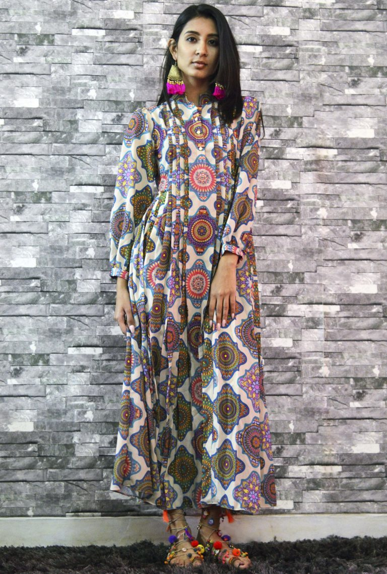 Folklore Collections - Printed Pleated Dress, designer sale canada designer clothes toronto popular clothing stores in toronto