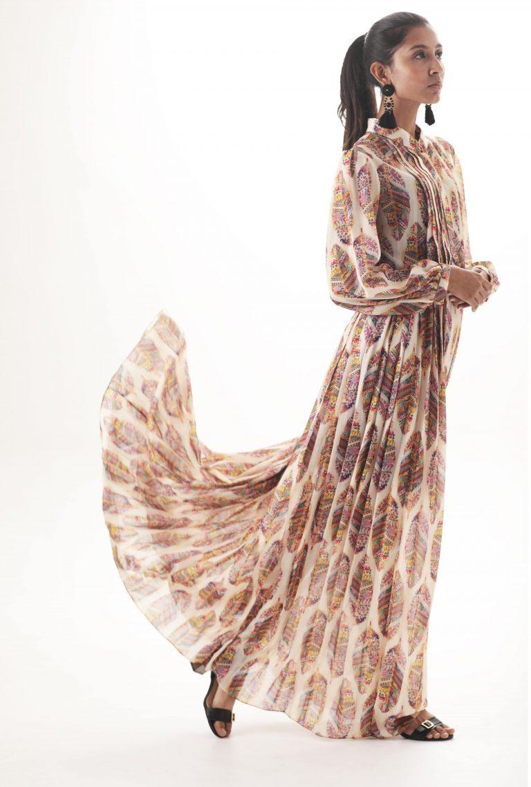 Printed maxi dress cream