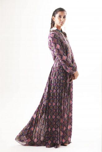 Printed maxi dress purple