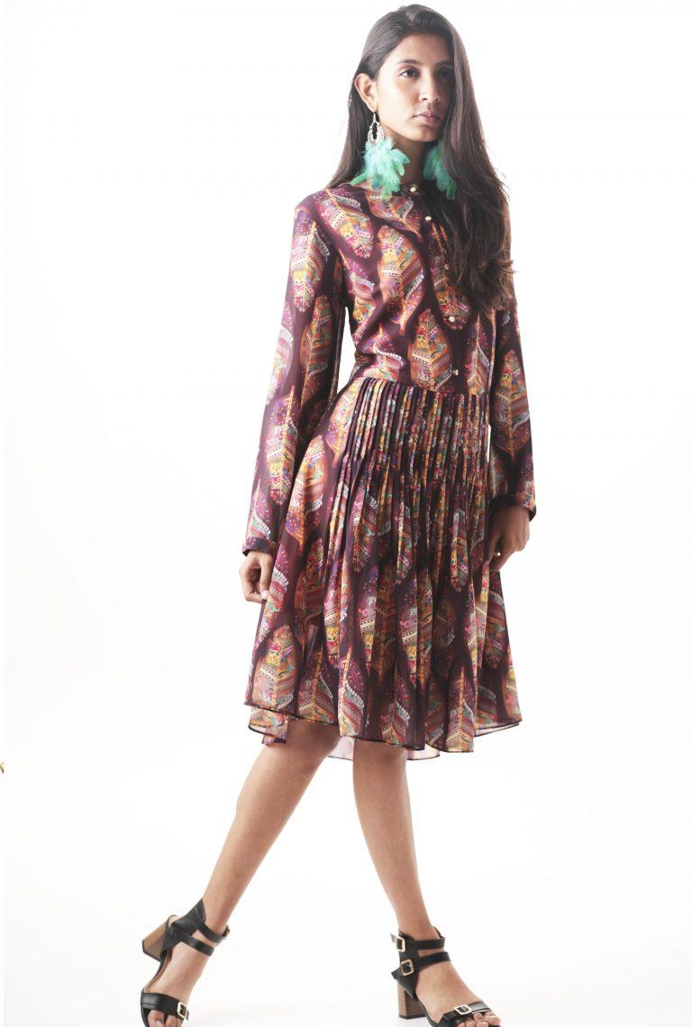 Printed pleated Midi shirt dress