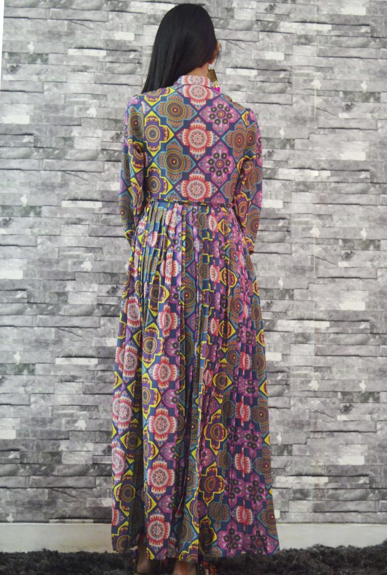 Folklore Collections - Printed pleated dress teal 3, designer sale canada designer clothes toronto popular clothing stores in toronto