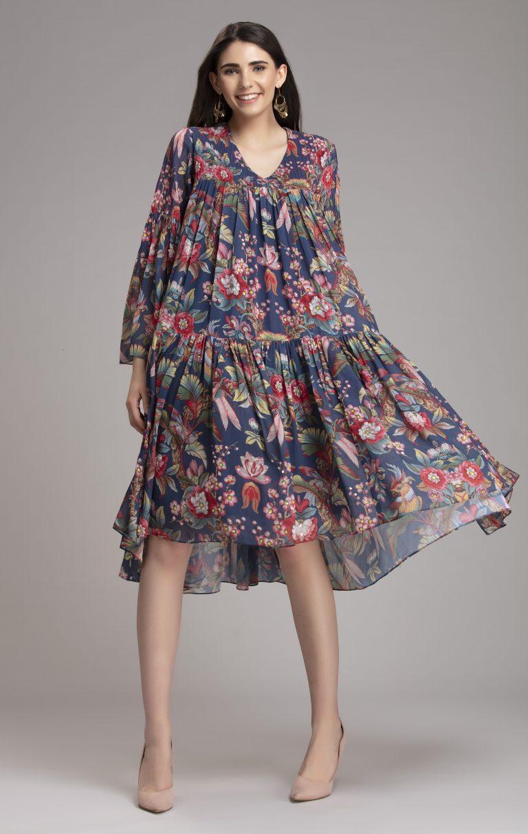 Printed tiered Georgette Midi dress