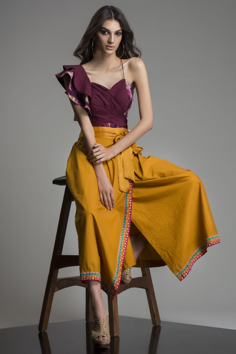 Warli Poplin Wrap Midi Skirt