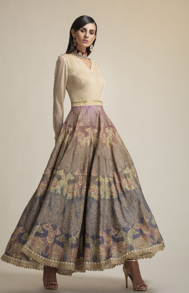 Folklore collections - Gond silk embroidered gown, buy indian designer clothes, online indian designer wear, online indian clothing, designers designer dresses on sale india designer indian wear designer, indian clothes, designer dresses on sale, designer dresses online