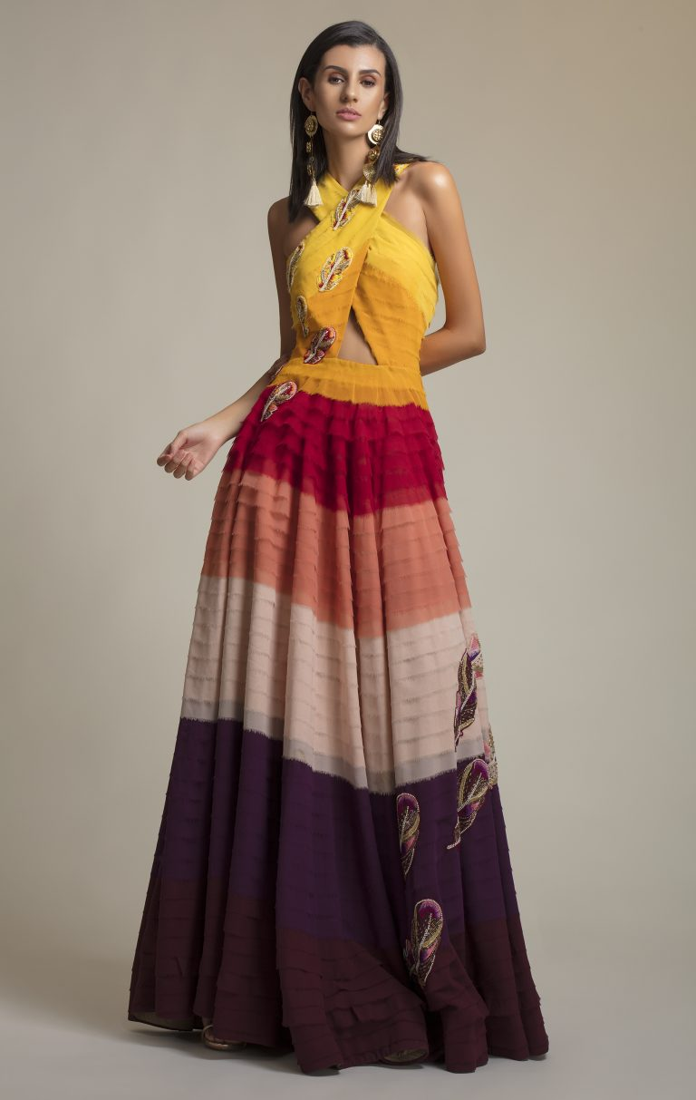 Folklore Collections - rainbow layred gown 1, designer occasion wear, designer wear clothes, indian designer wear online, special occasion wear, Fashion designer clothing, women designer clothing